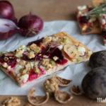Knusprig-vegetarischer Flammkuchen mit Ziegenkäse, Apfel & Rote Bete