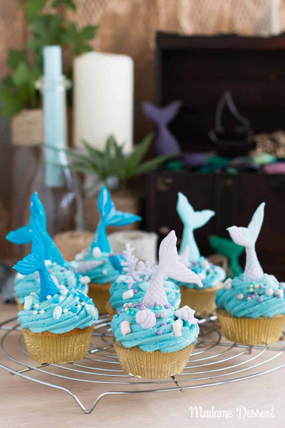 Rezept für Meerjungfrauen Cupcakes | Madame Dessert